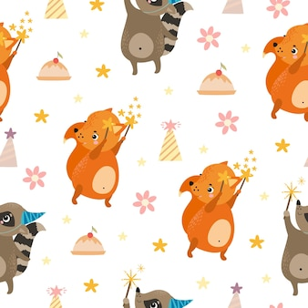 Schattige naadloze patroon wasbeer en eekhoorn