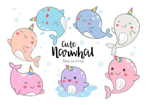 Schattige narwal zee dier doodle cartoon