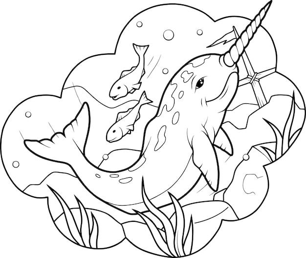 Schattige narwal