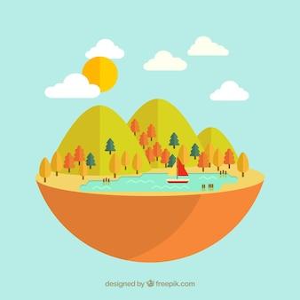 Schattige natuurlijke landschap