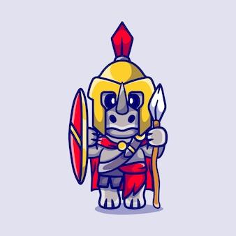 Schattige neushoorn gladiator spartaans met schild en speer
