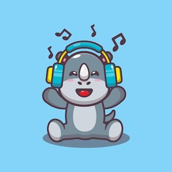 Schattige neushoorn luisteren muziek met hoofdtelefoon cartoon vectorillustratie