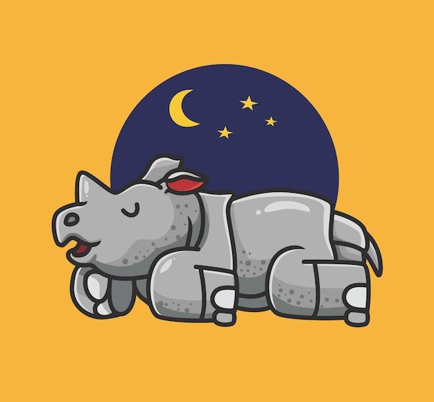 Schattige neushoorn slapen cartoon dier natuur concept geïsoleerde illustratie flat style