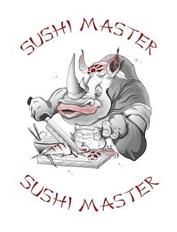 Schattige neushoorn werkt als een sushi-meester