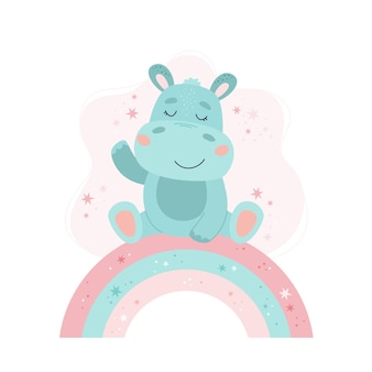 Schattige nijlpaard baby dier concept illustratie voor kinderdagverblijf, karakter voor kinderen