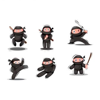 Schattige ninja-mascotte