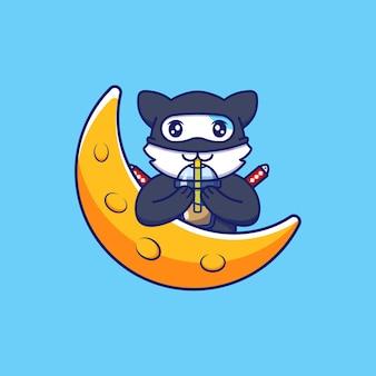 Schattige ninjakat die een kopje koffie drinkt
