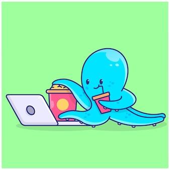 Schattige octopus die illustratie kijkt en eet