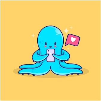Schattige octopus krijgt like van sociale media-illustratie