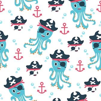 Schattige octopus piraten patroon illustraties