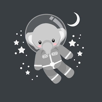 Schattige olifant astronaut cartoon doodle illustratie