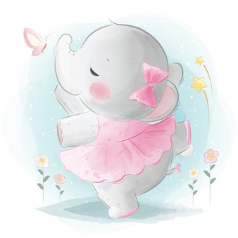 Schattige olifant ballerina