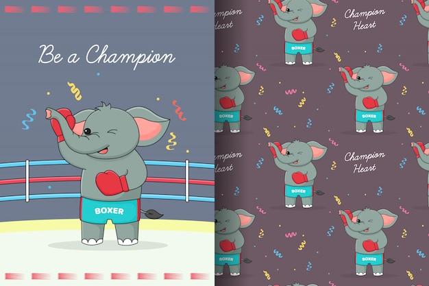 Schattige olifant bokser naadloze patroon en kaart