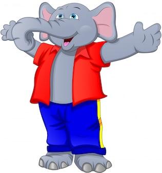 Schattige olifant cartoon zwaaien