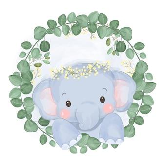 Schattige olifant en groen