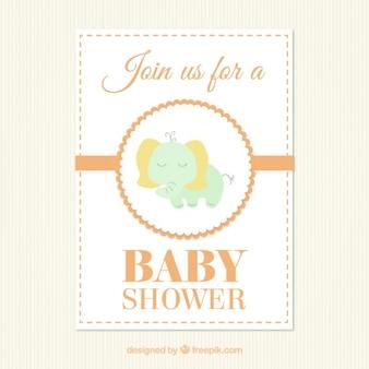 Schattige olifant kaart voor baby shower