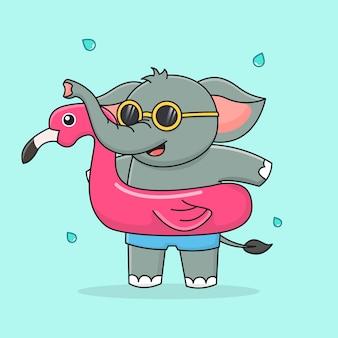 Schattige olifant met zwemring flamingo en zonnebril