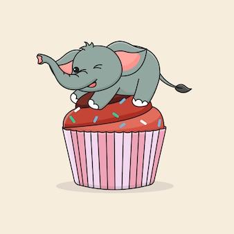 Schattige olifant op cupcake
