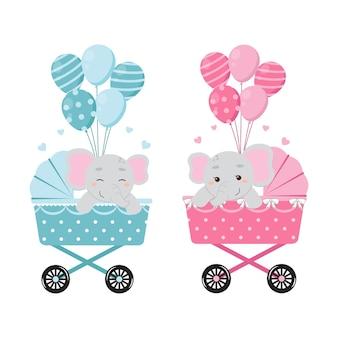 Schattige olifant op kinderwagen met ballonnen baby geslacht onthullen jongen of meisje illustraties platte vector cartoon