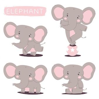 Schattige olifant vector stripfiguren set geïsoleerd.