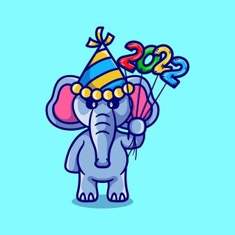 Schattige olifant viert het nieuwe jaar met 2022 ballonnen