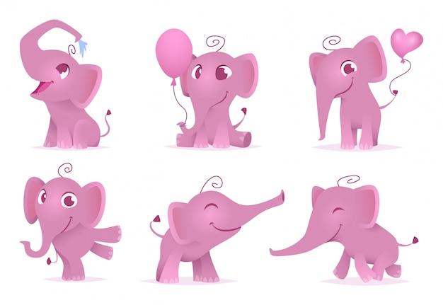 Schattige olifanten, leuke en grappige vrolijke afrikaanse babydieren houden van geïsoleerde emoties stripfiguren