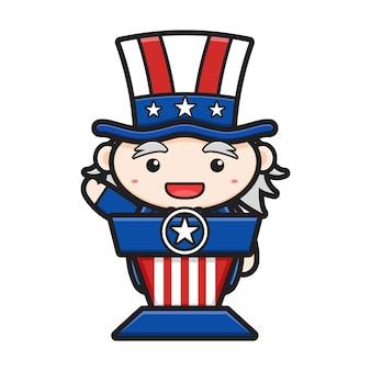 Schattige oom sam die op de preekstoel spreekt, viert amerika onafhankelijkheidsdag cartoon pictogramillustratie