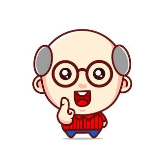 Schattige opa karakter kawaii ontwerpen