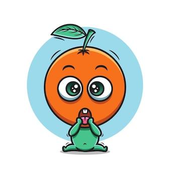 Schattige oranje cartoon pictogram vectorillustratie