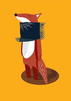 Schattige oranje herfstvos in een blauwe sjaal en met gesloten ogen vectorillustratie van dieren