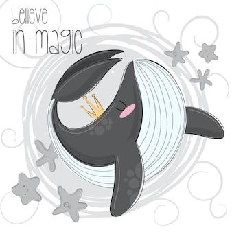 Schattige orka hand tekenen illustratie