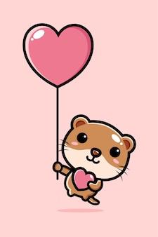 Schattige otter die met liefdeballon vliegt
