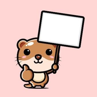 Schattige otter met een leeg tekstbord