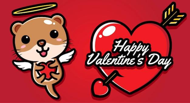 Schattige otter met gelukkige valentijnsdaggroeten