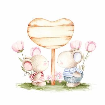 Schattige paar muis met liefde houten teken sjabloon aquarel illustratie