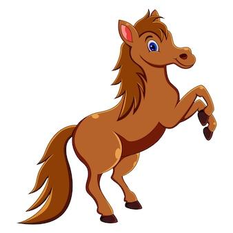 Schattige paard cartoon springen