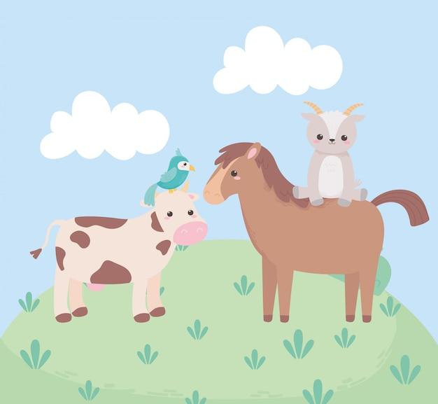 Schattige paard geit koe en papegaai tekenfilm dieren in een natuurlijk landschap
