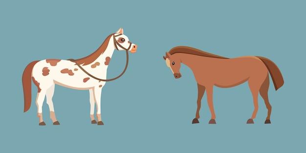 Schattige paarden in verschillende poses design