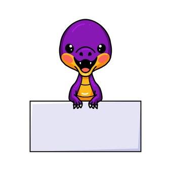 Schattige paarse kleine dinosaurus cartoon met leeg bord