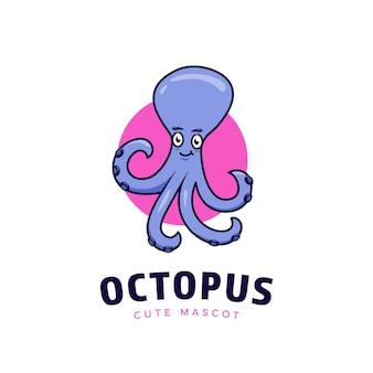 Schattige paarse octopus cartoon logo met roze achtergrond en tekst eronder sjabloon