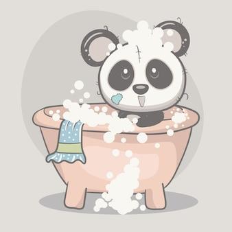 Schattige panda-babydouche