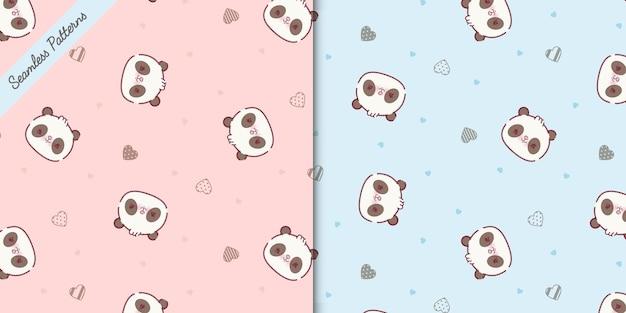 Schattige panda beren naadloze patronen set premium vector