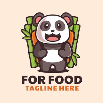 Schattige panda brengt bamboe rugzak cartoon logo-ontwerp
