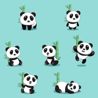 Schattige panda cartoon collectie