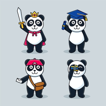 Schattige panda cartoon mascotte ingesteld sjabloon