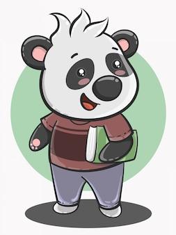 Schattige panda cartoon terug naar school