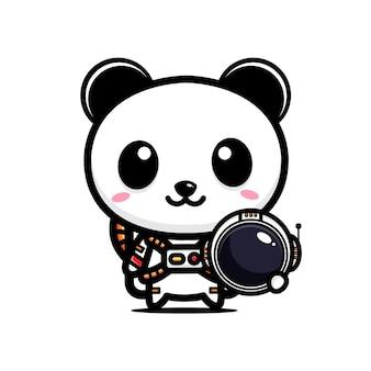 Schattige panda die astronautenkostuum draagt