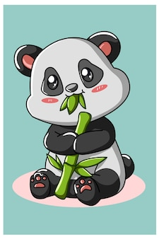 Schattige panda die bamboe eet geïsoleerd op turkoois