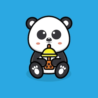 Schattige panda die boba-thee drinkt