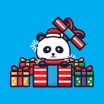 Schattige panda die kerst viert